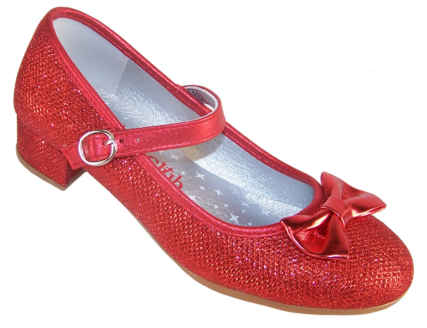 Girls red sparkly low heeled party shoes-0