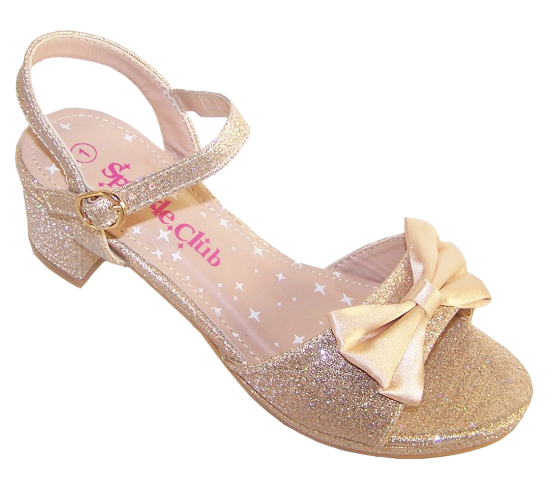 Girls pale gold sparkly party heeled sandals-0