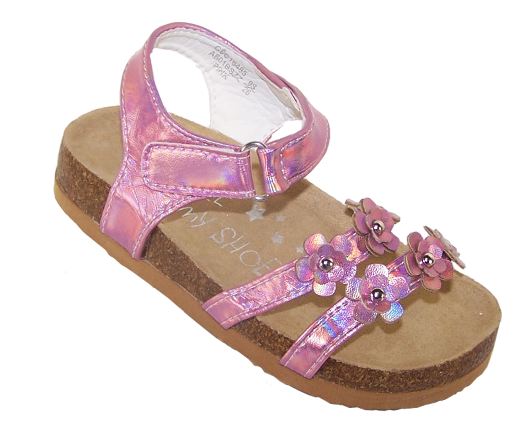 Young girls pink footbed sandals-0