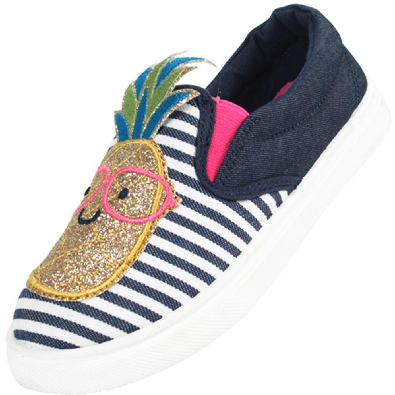 Girls blue and white denim pineapple skater shoes-0