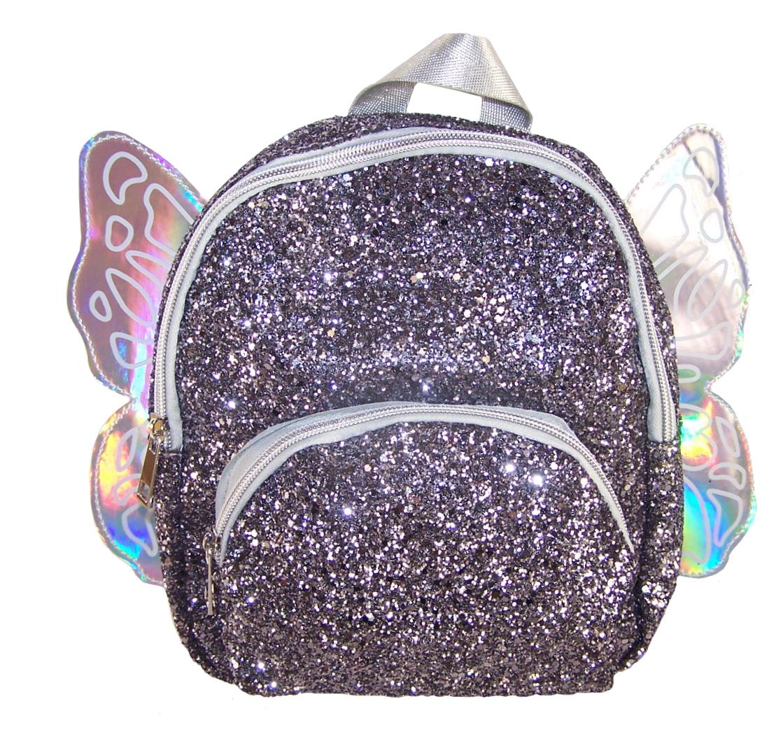 Girls dark silver glitter mini angel backpack-0