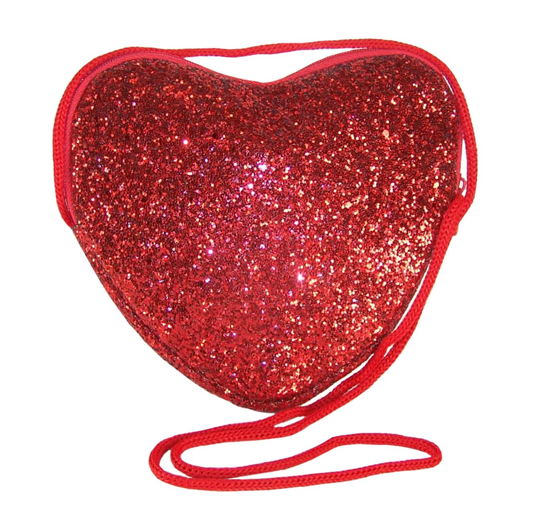 Girls red glitter heart over body bag-0