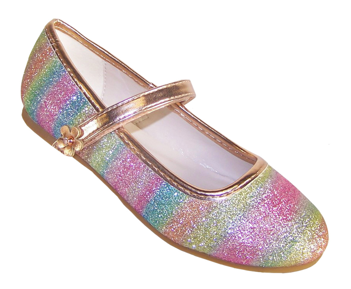 Girls sparkly rainbow coloured ballerina shoes -0