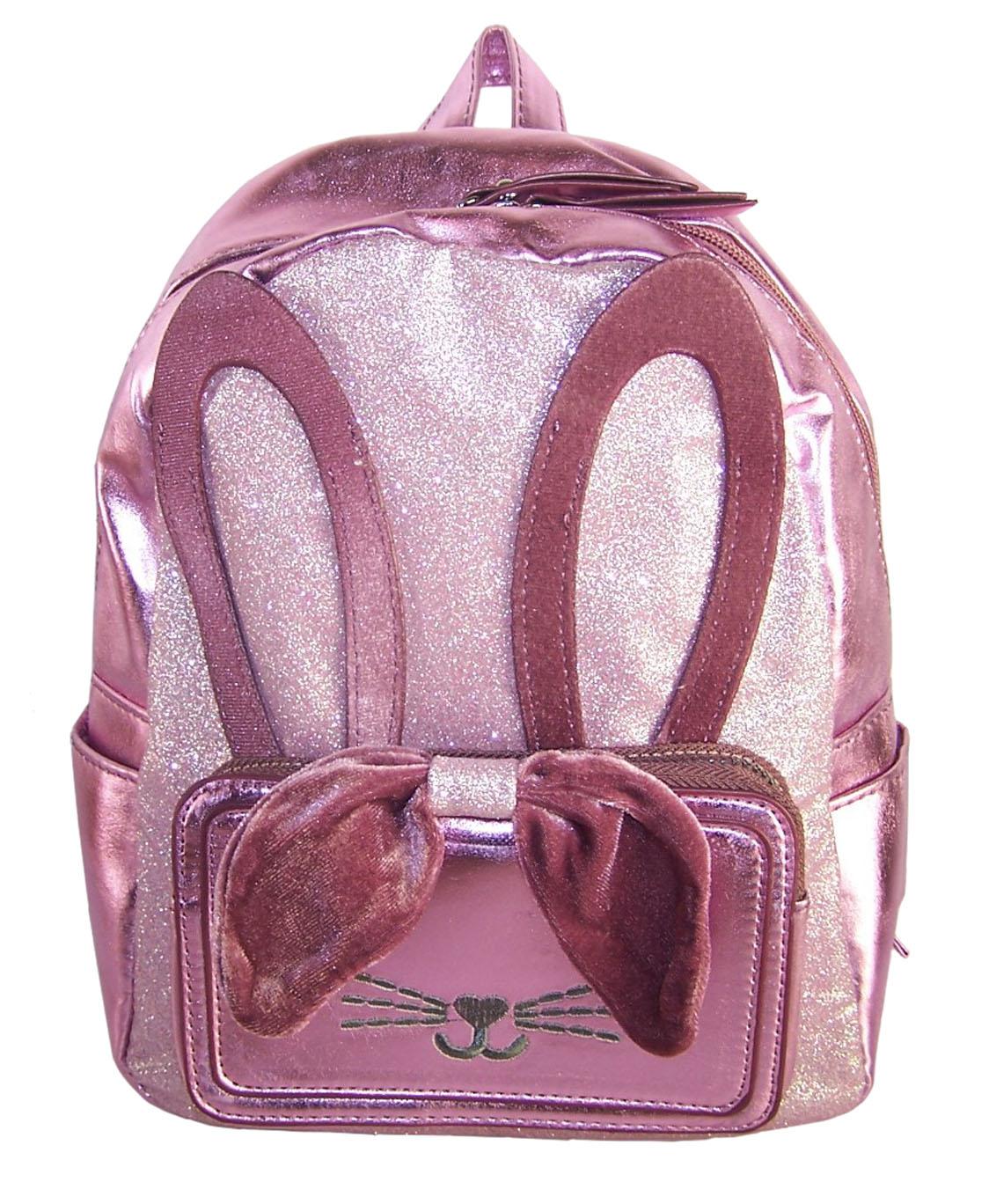 Girls pink PU and glitter bunny mini backpack-0
