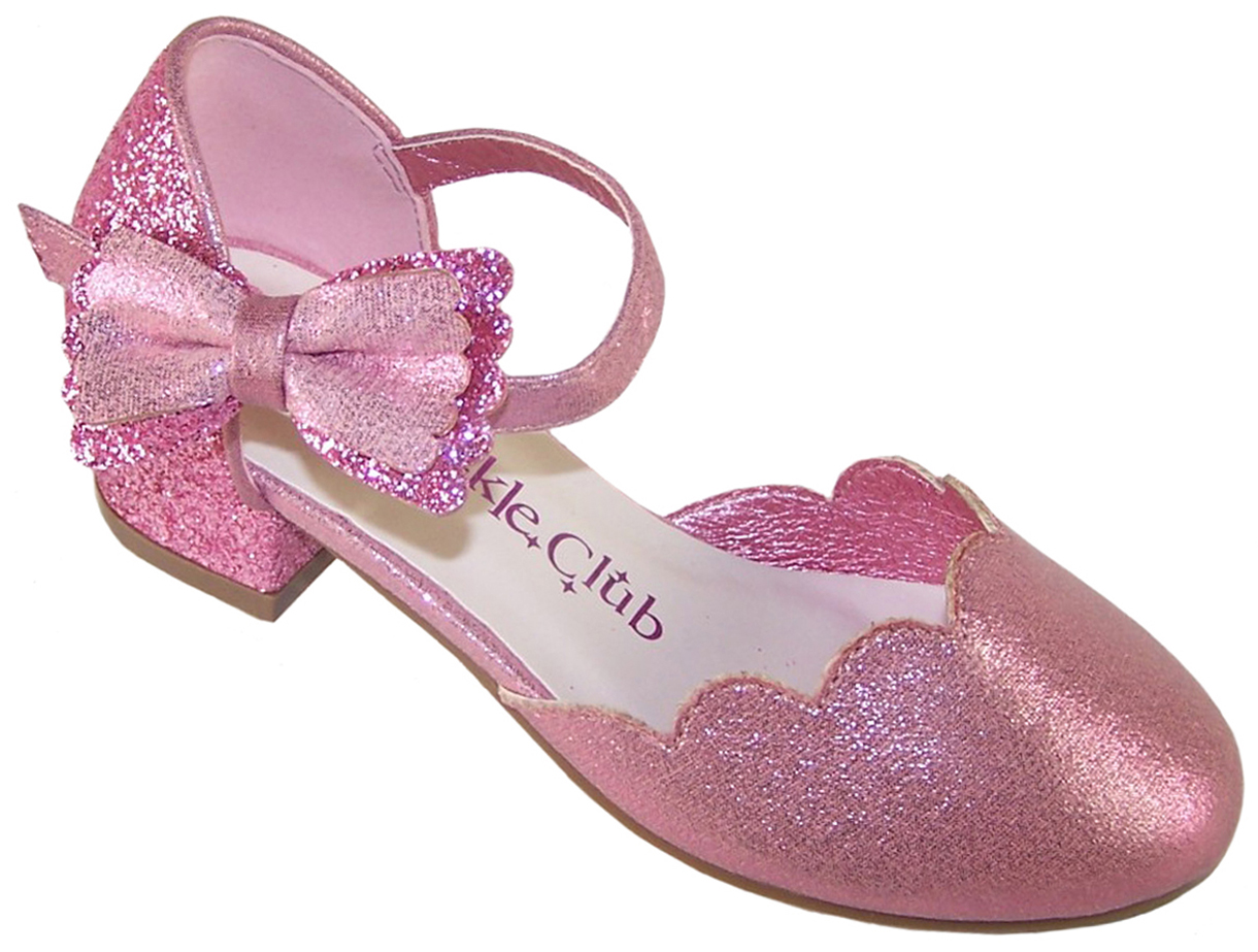 Girls pink sparkly glitter heeled party shoes-0
