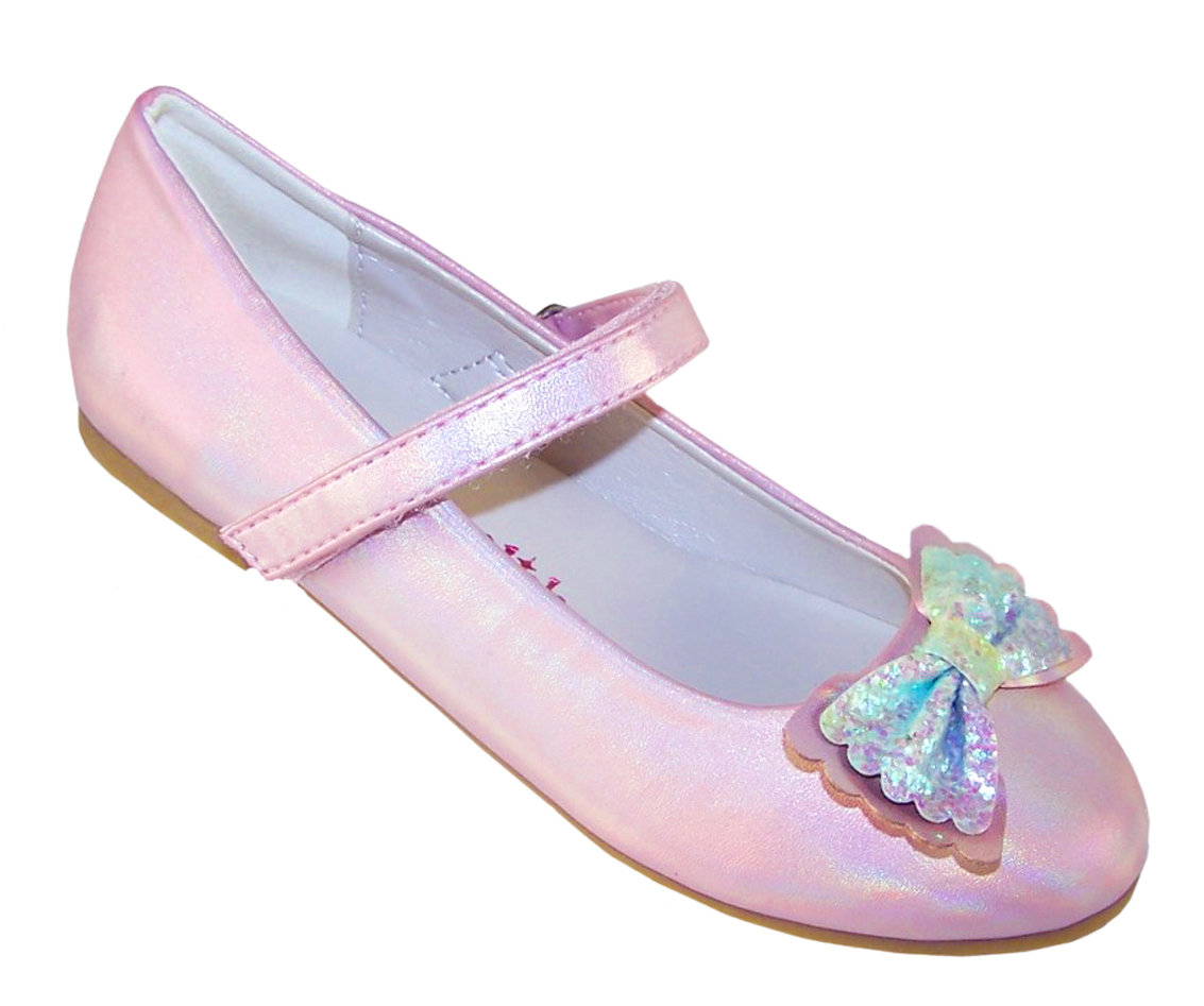 Girls pale pink sparkly ballerina party shoes-0