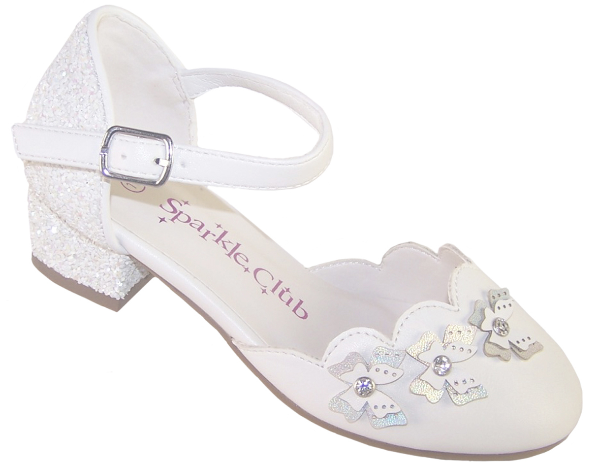 Girls white low heeled sparkly bridesmaid shoes-0