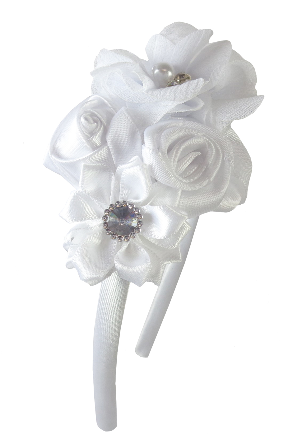 Girls white satin flower headband-0