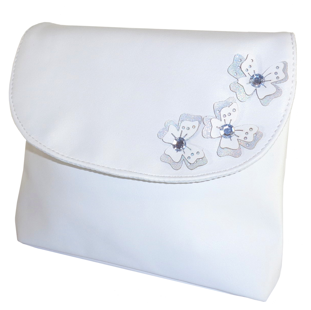 Childrens white handbag with butterfly tirms-0