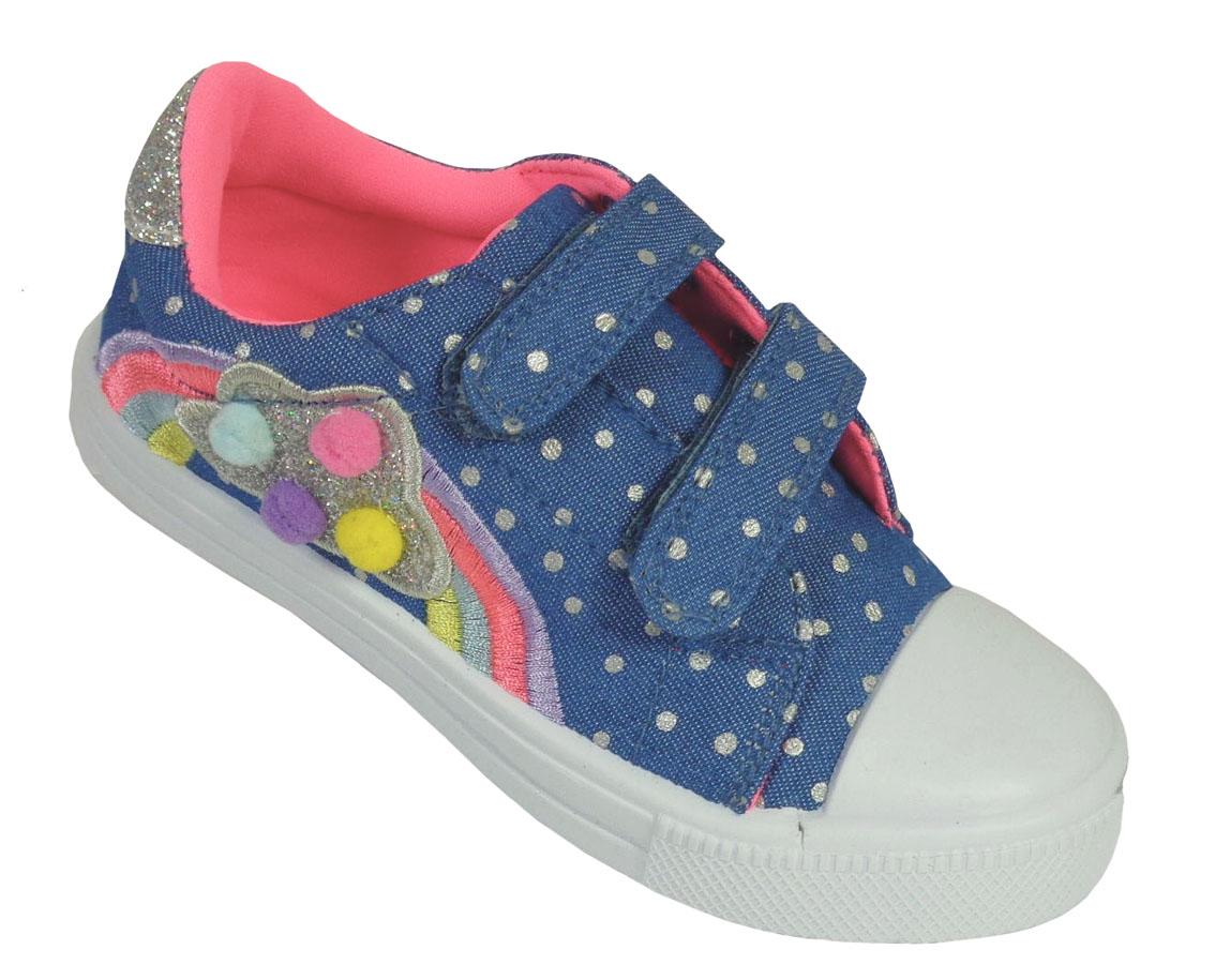 Young girls blue and rainbow sparkly trainers-0
