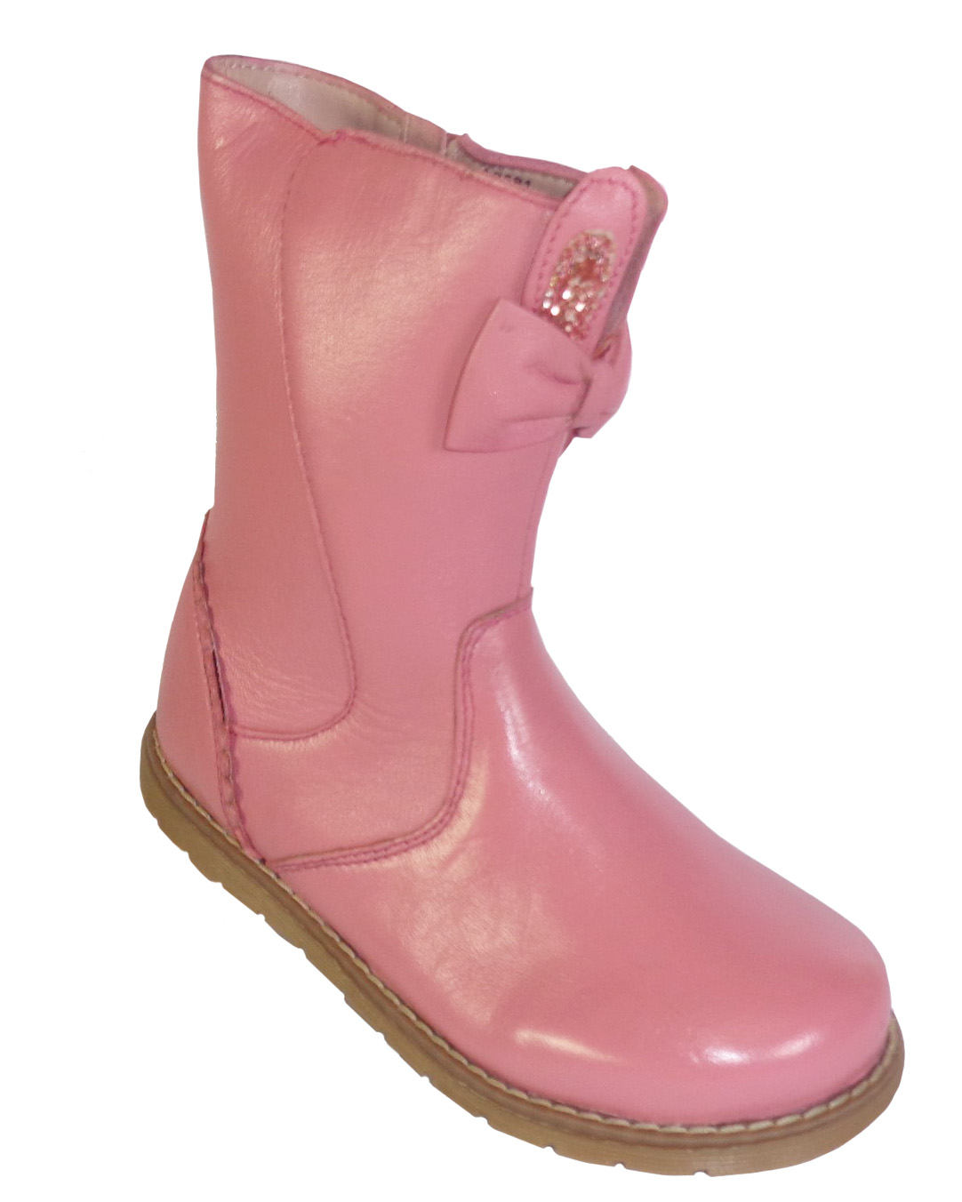Girls pink leather boots