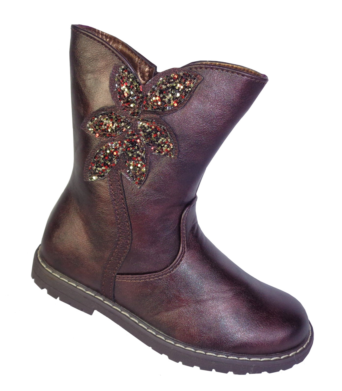 Girls burgundy sparkly boots